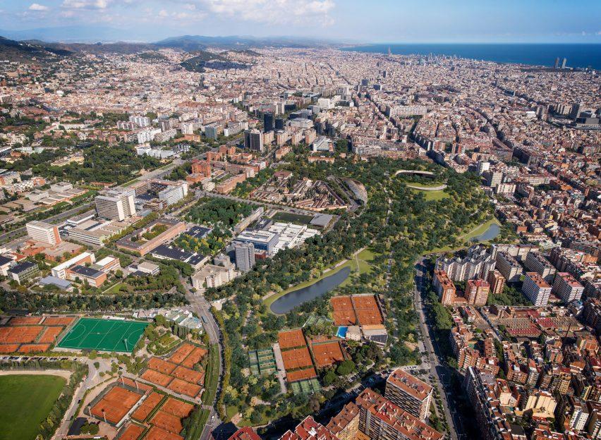 Parque Nou Parc no estádio Nou Camp em Barcelona pela ON-A Architecture