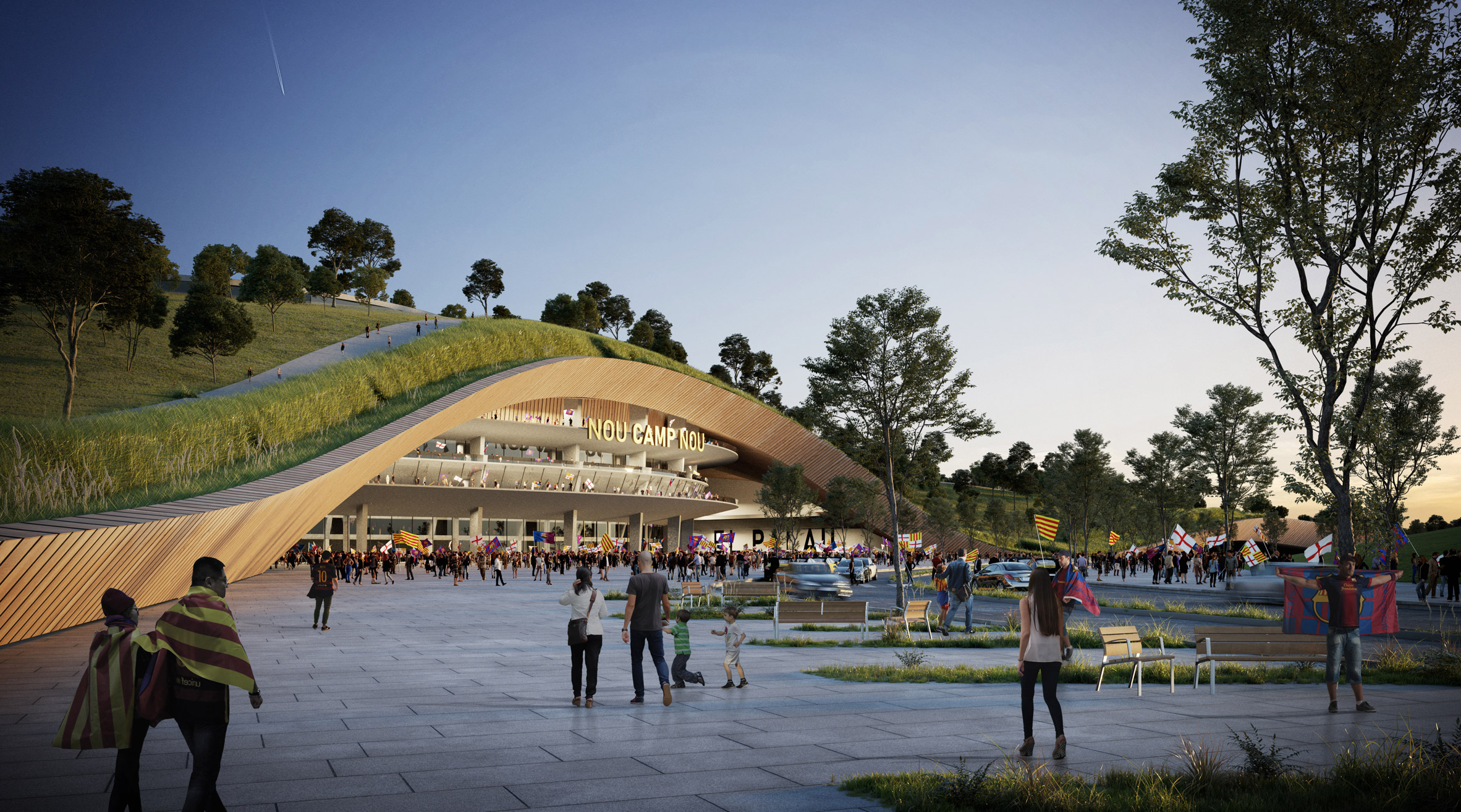Nou Parc park at Nou Camp stadium in Barcelona by ON-A Architecture