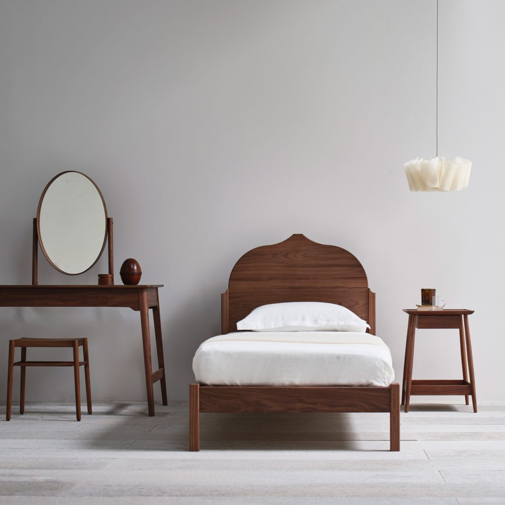 Pinch pairs classic materials with minimal shapes for bedroom furniture