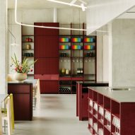 Remi restaurant in Berlin is defined by cherry-red joinery