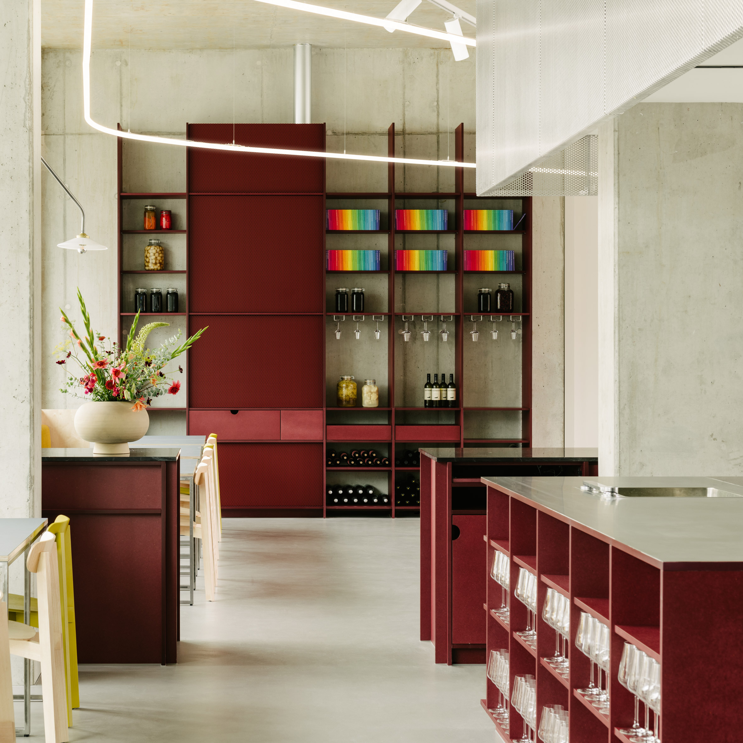 Remi Restaurant In Berlin Is Defined By Cherry Red Joinery