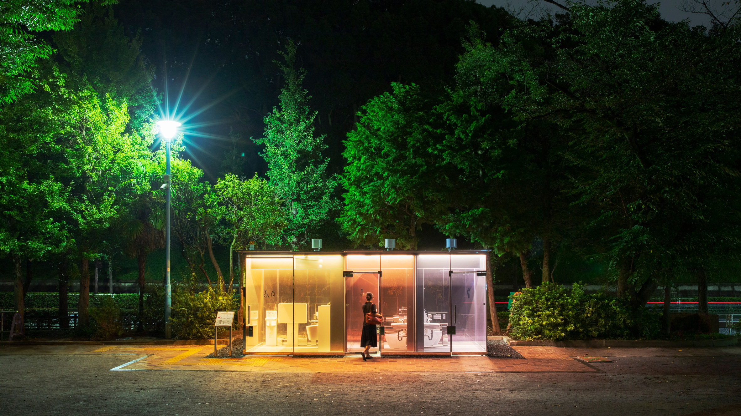 Public toilets in Tokyo's Yoyogi Fukamachi Mini Park and the Haru-No-Ogawa Community Park by Shigeru Ban for theTokyo Toilet project