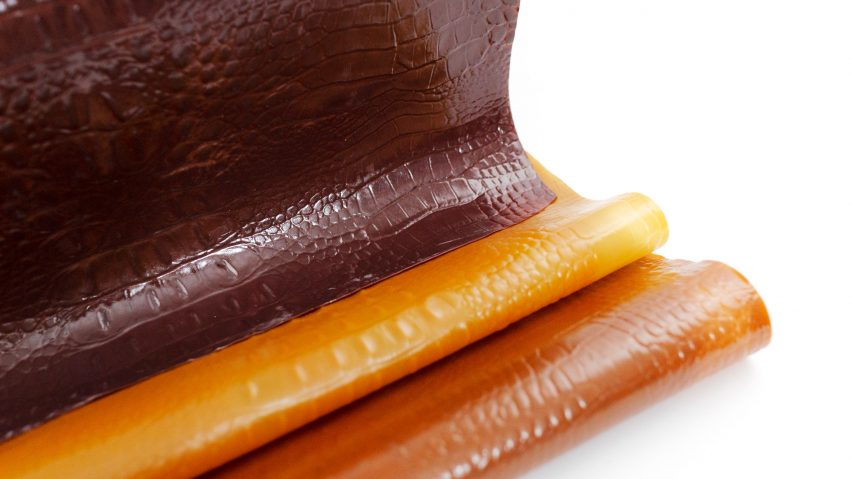 Tômtex is a leather alternative made from waste seafood shells and coffee