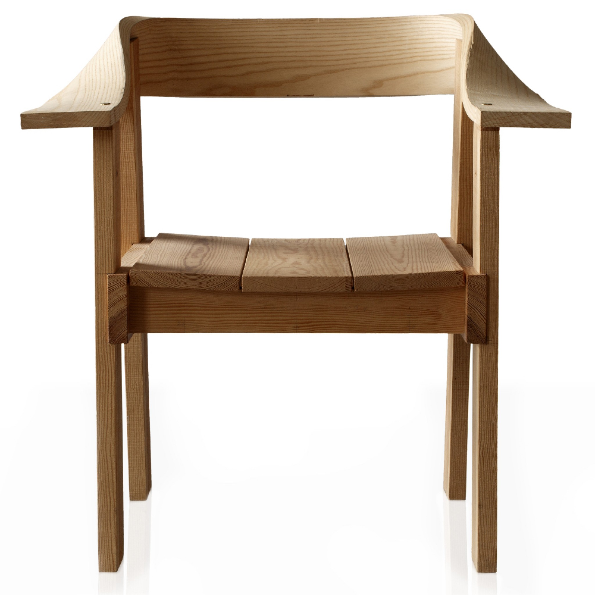 The backrest curves at a complicated angle – one that would seem impossible to achieve with a wooden plank.