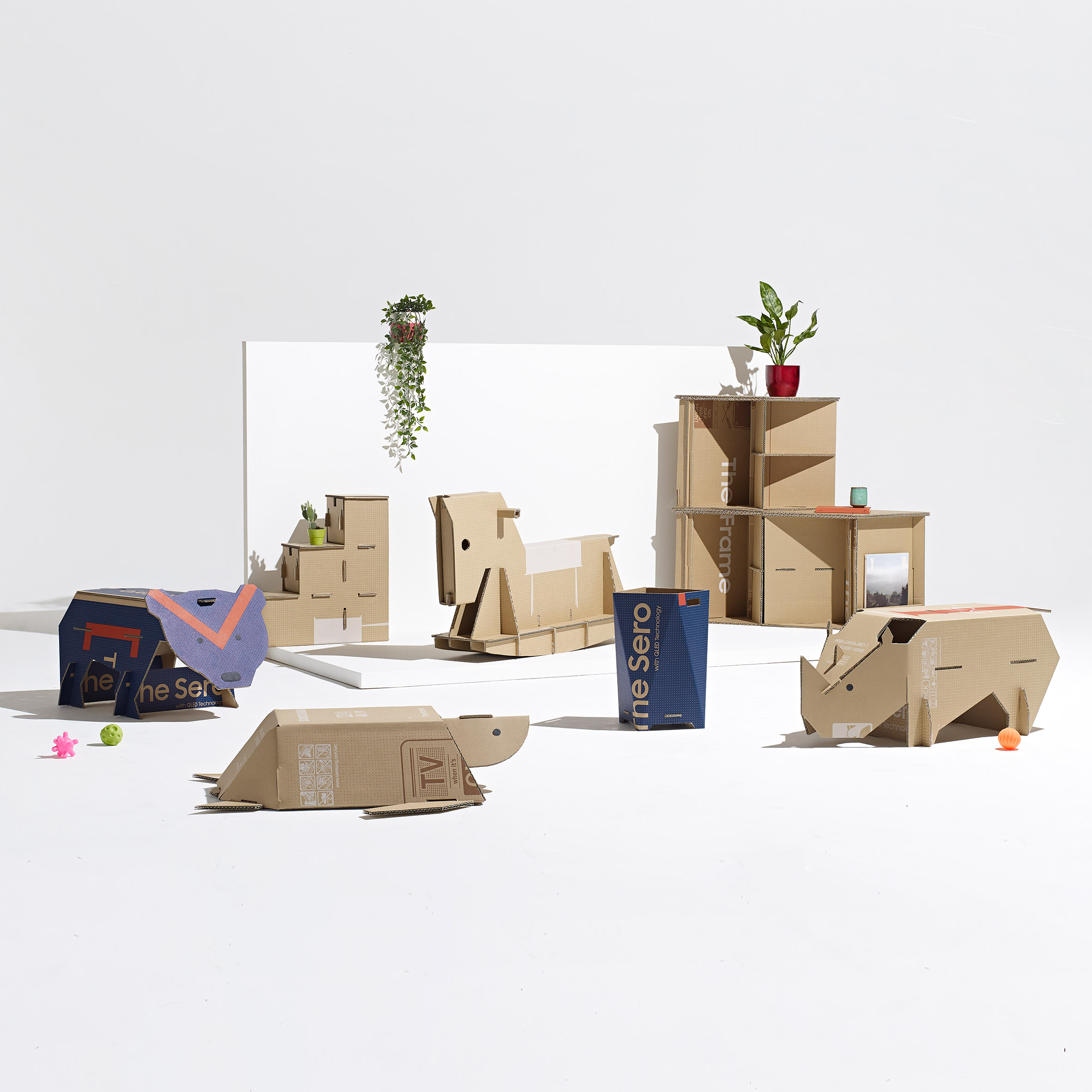 Dezeen x Samsung Out of the Box finalist designs made from repurposed cardboard boxes