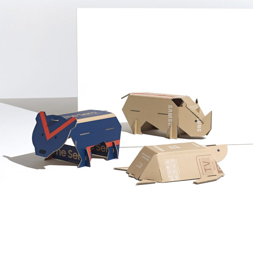 Endangered Animals toys made from repurposed Samsung TV cardboard boxes