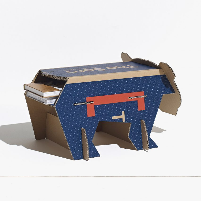 Polar bear toy made from repurposed Samsung TV cardboard boxes