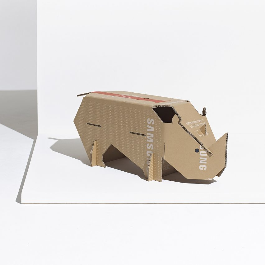 Black rhino toy made from repurposed Samsung TV cardboard boxes