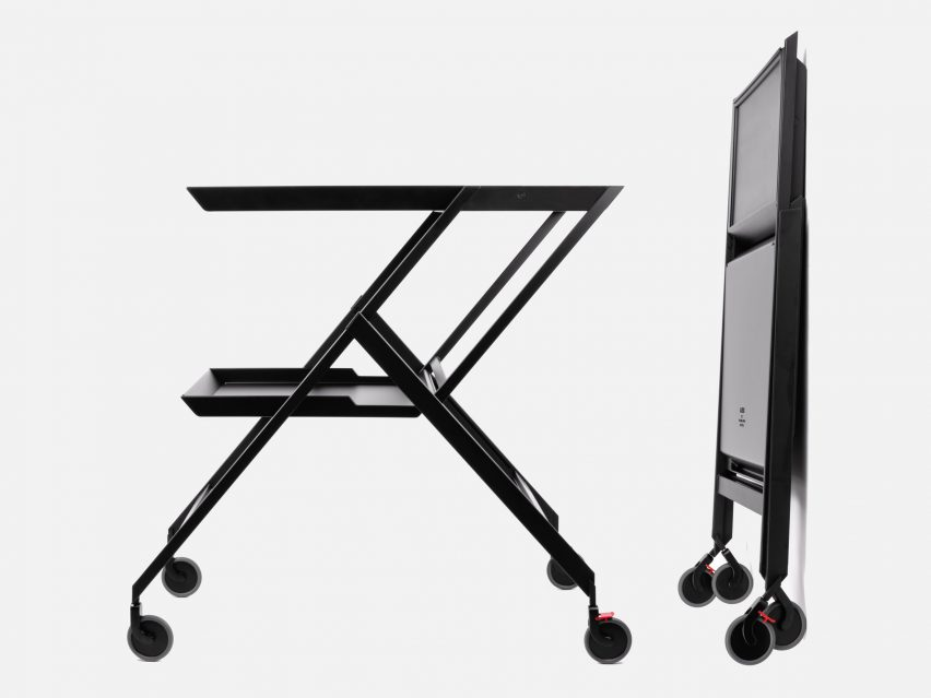 Plico folding trolley and desk by Richard Sapper, reissued by Alessi