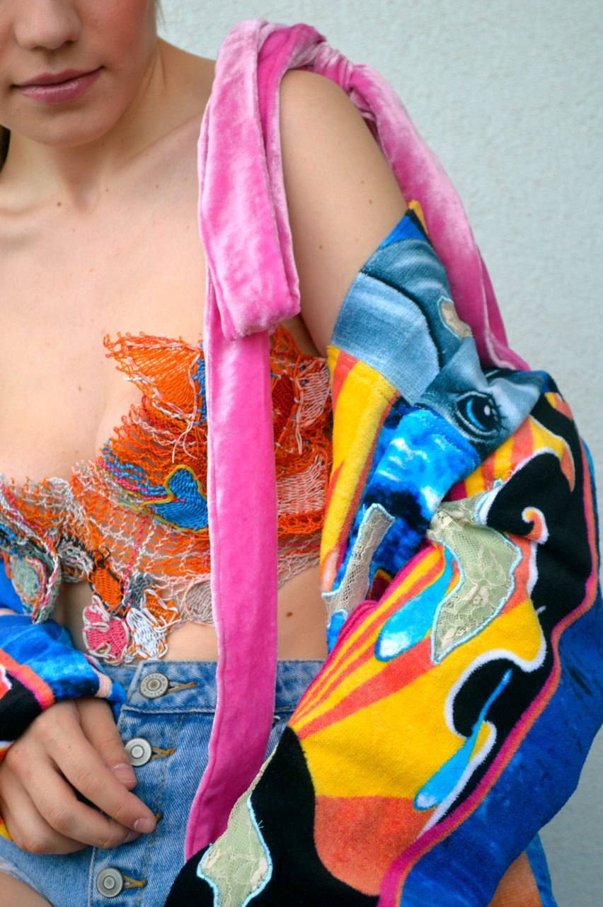 A jacket made from beach towels from the Romanian Camouflage graduate collection