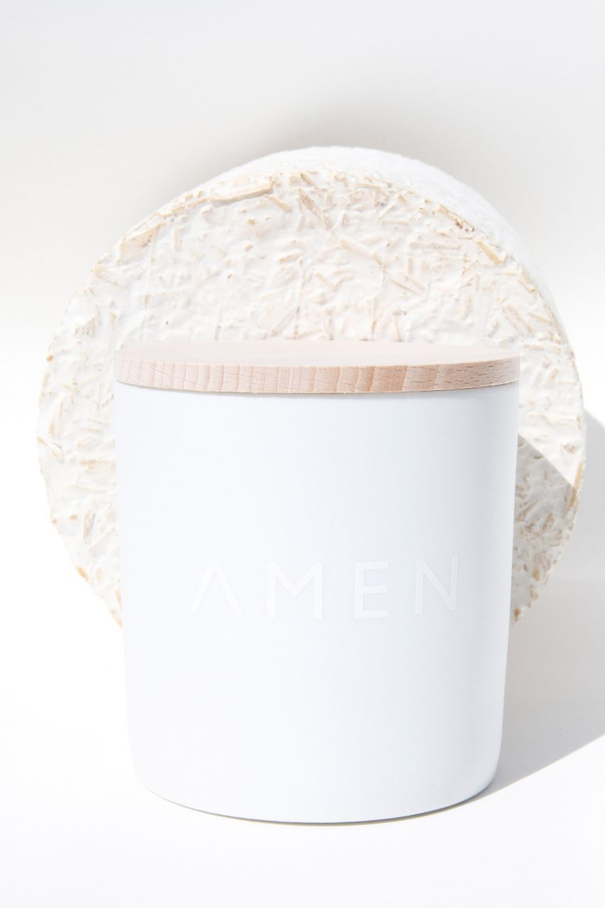 """Amen candles are shipped in """"carbon negative"""" mycelium packaging"""