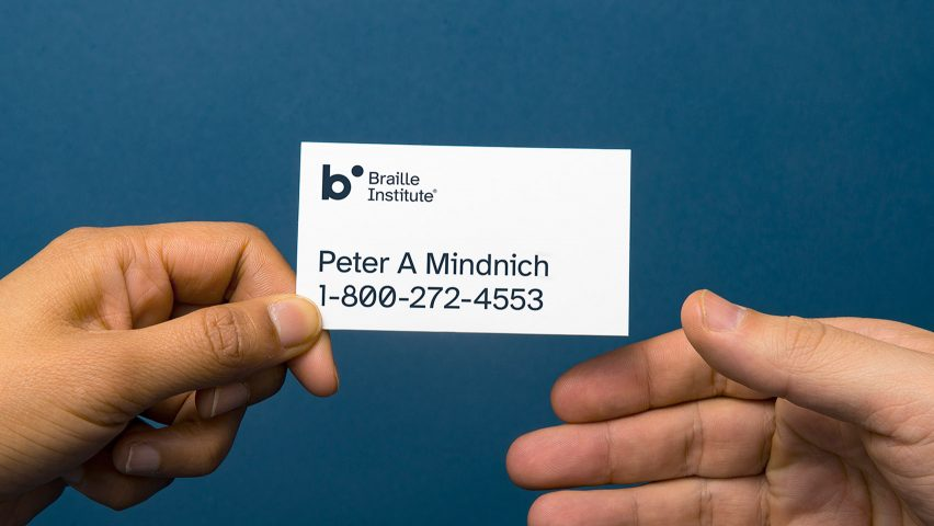 Atkinson Hyperlegible typeface for visually impaired on Braille Institute business card