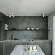 Apartment in Belgium features green kitchen