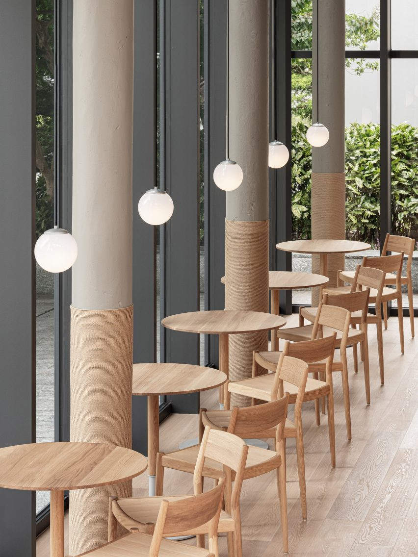 Interior of Blue Bottle Coffee cafe in Minatomirai