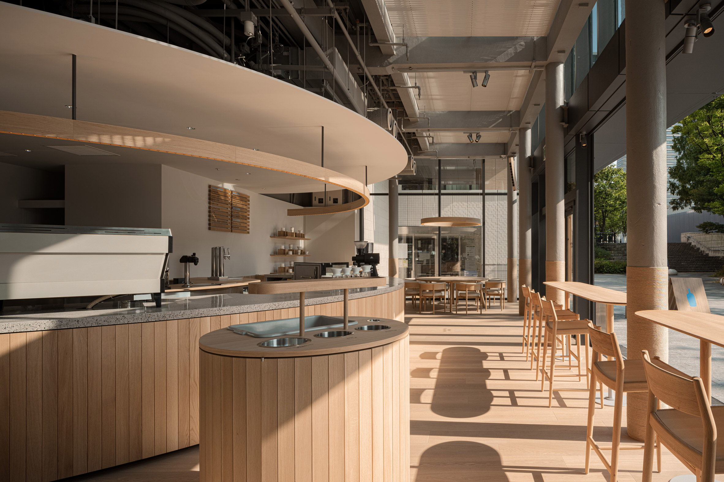 Interior of Blue Bottle Coffee cafe in Minatomirai