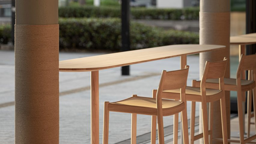 Blue Bottle Coffee cafe in Minatomirai includes chairs designed by Norm Architects