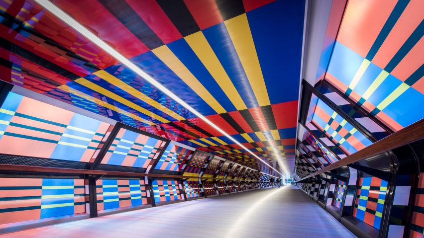 Camille Walala unveils Adams Plaza Bridge artwork as part of London Mural Festival