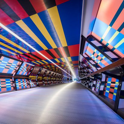 Camille Walala unveils Adams Plaza Bridge artwork as part of London Mural Festival