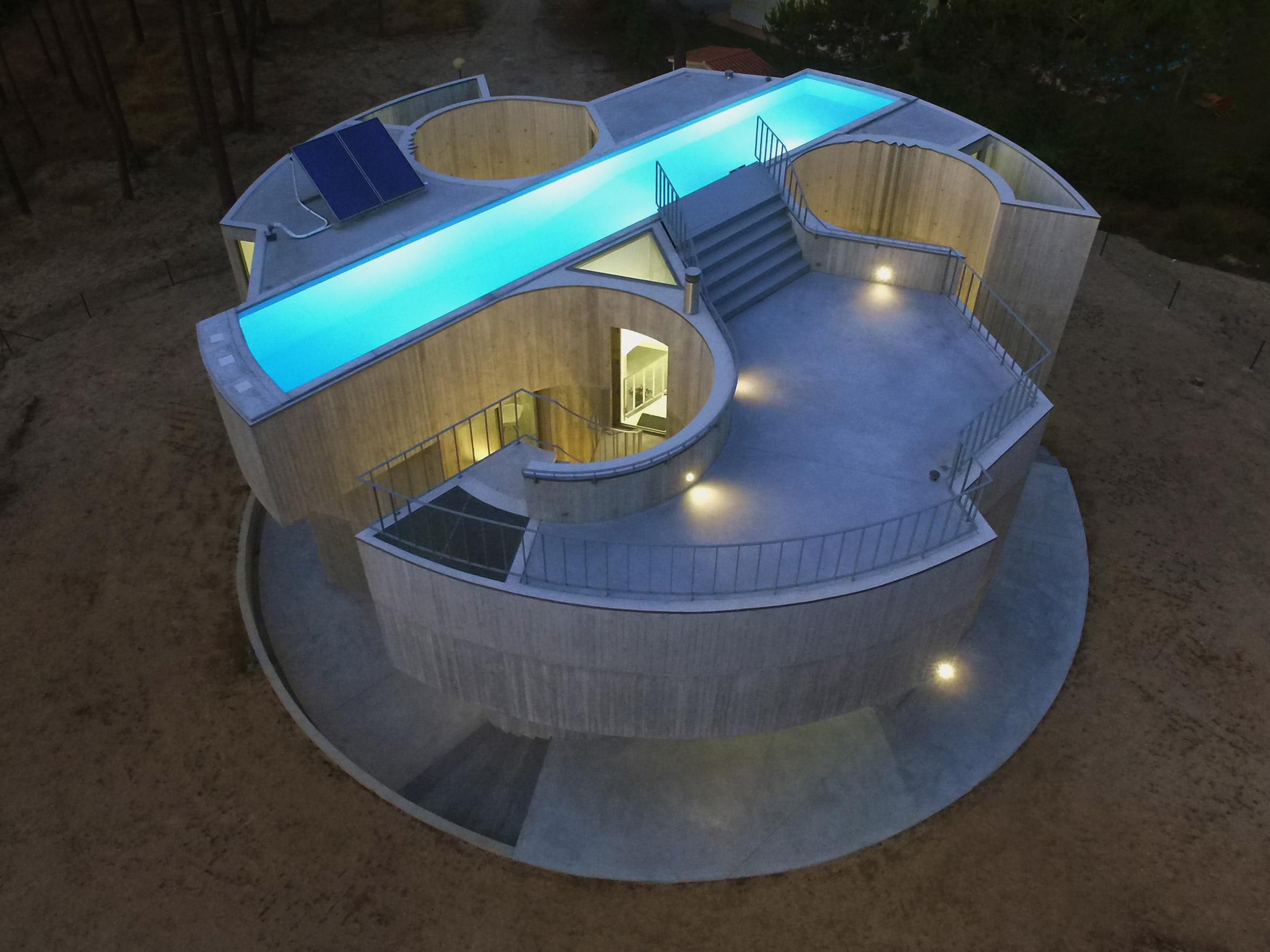 Drone view of pool for Trefoil House in Portugal by Double O Studio