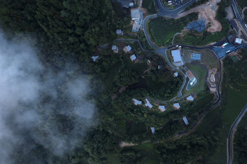 Aerial view of Mountain and Cloud Cabins by Wiki World and Advanced Architecture Lab