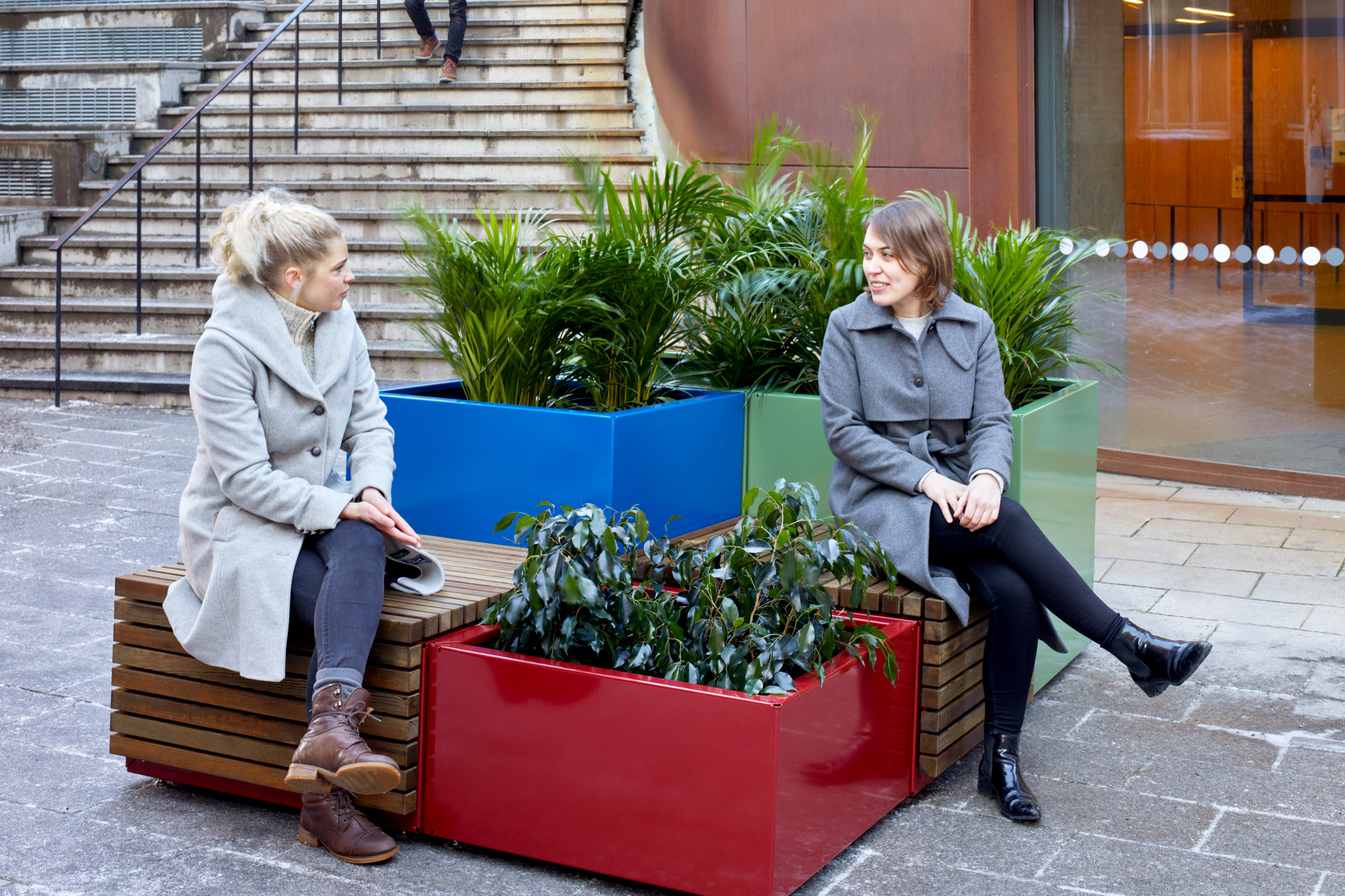 The Code bench system and planter by Vestre