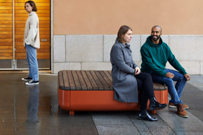 The Stones modular bench system by Vestre can be used indoors