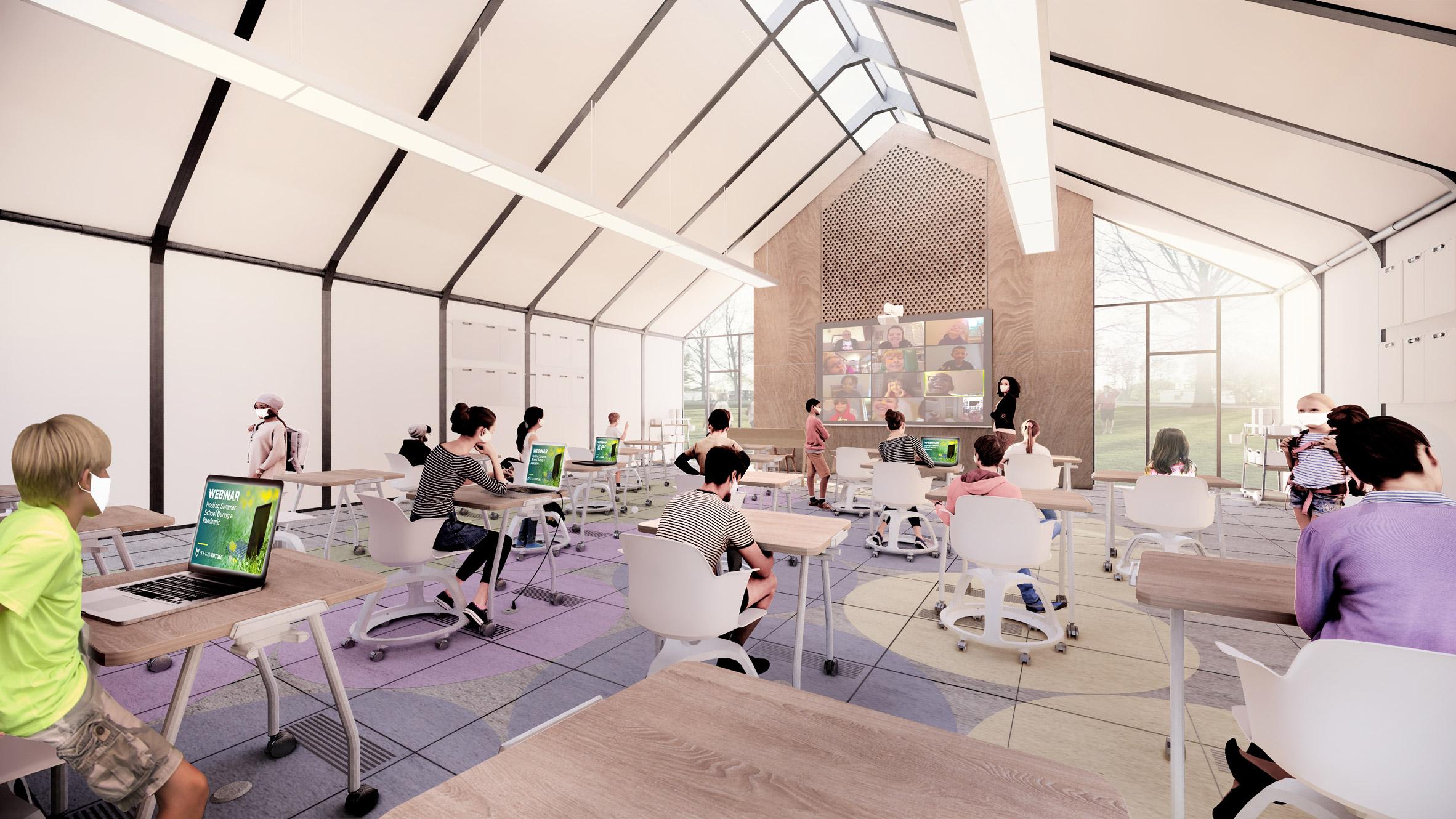 Modular School/House pop-up classrooms for coronavirus by SOM
