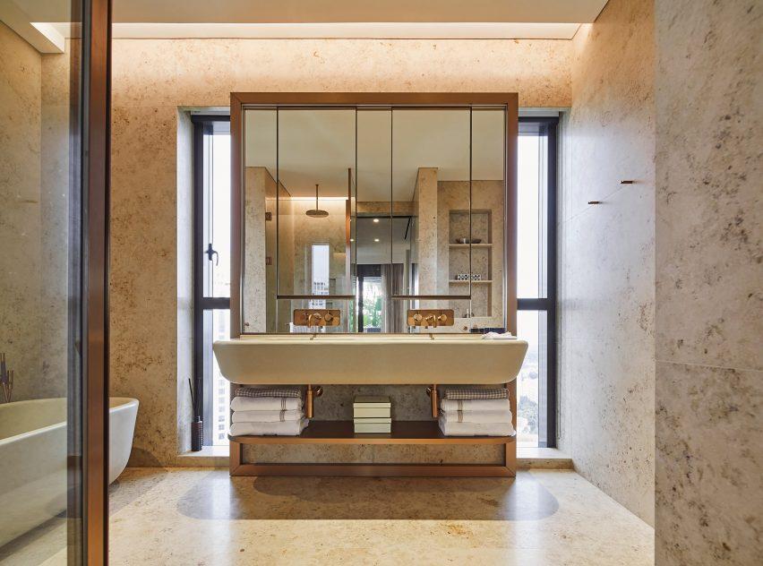 Bathroom with sinks designed by Heatherwick Studio
