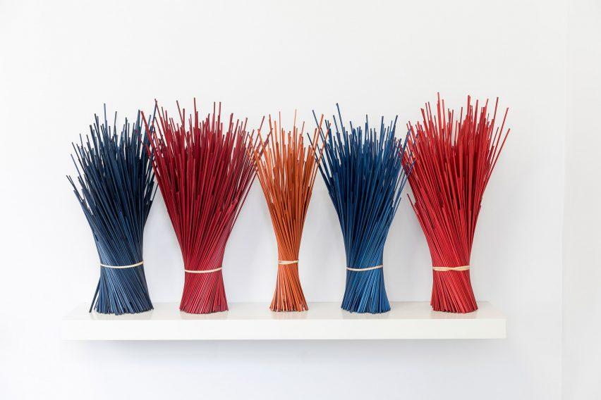 Colourful flattened rye straw
