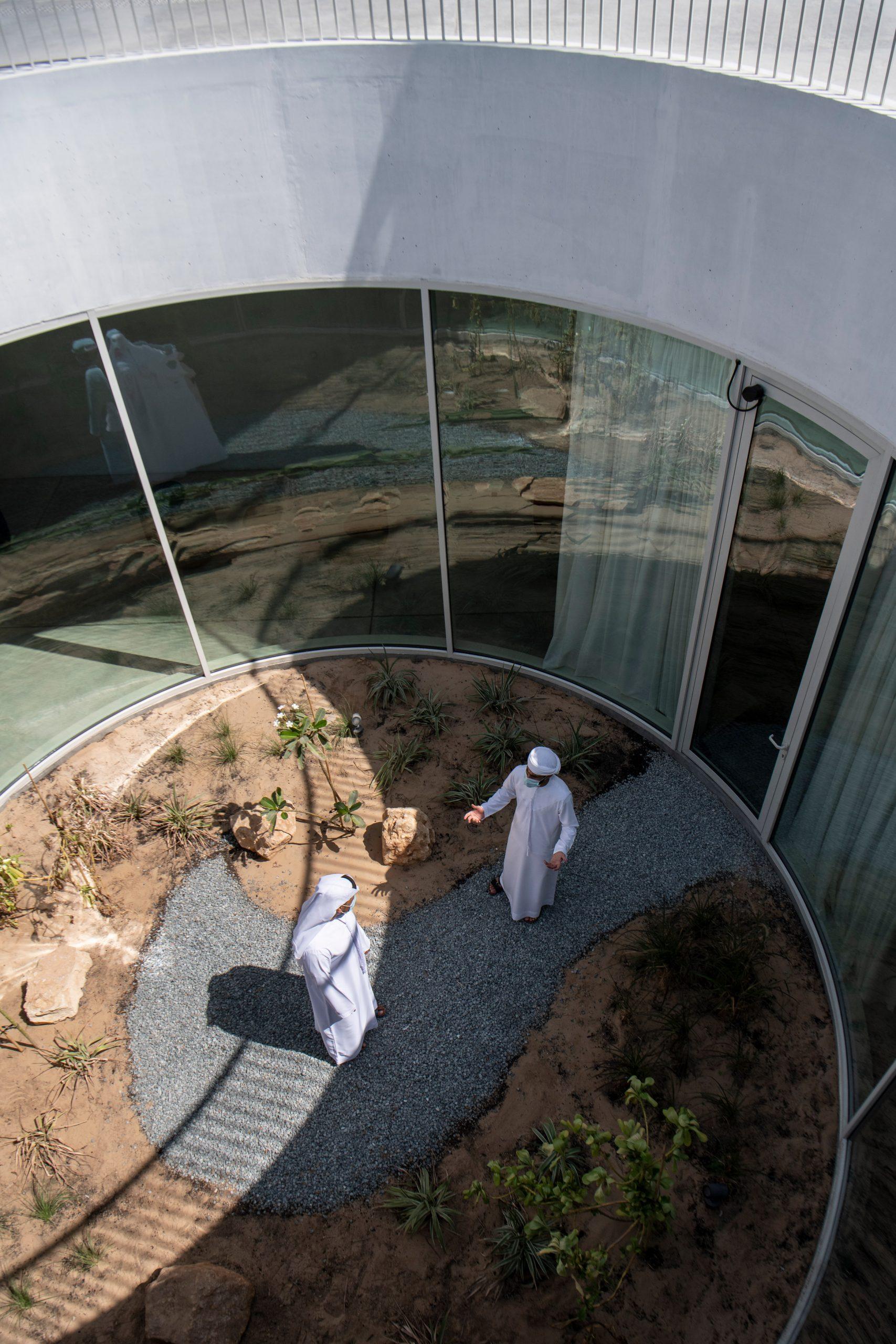 Circular sunken courtyard