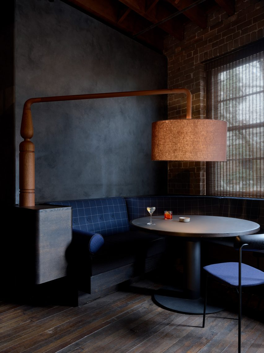 Interiors of Four Pillars' gin laboratory are dressed with blue furniture