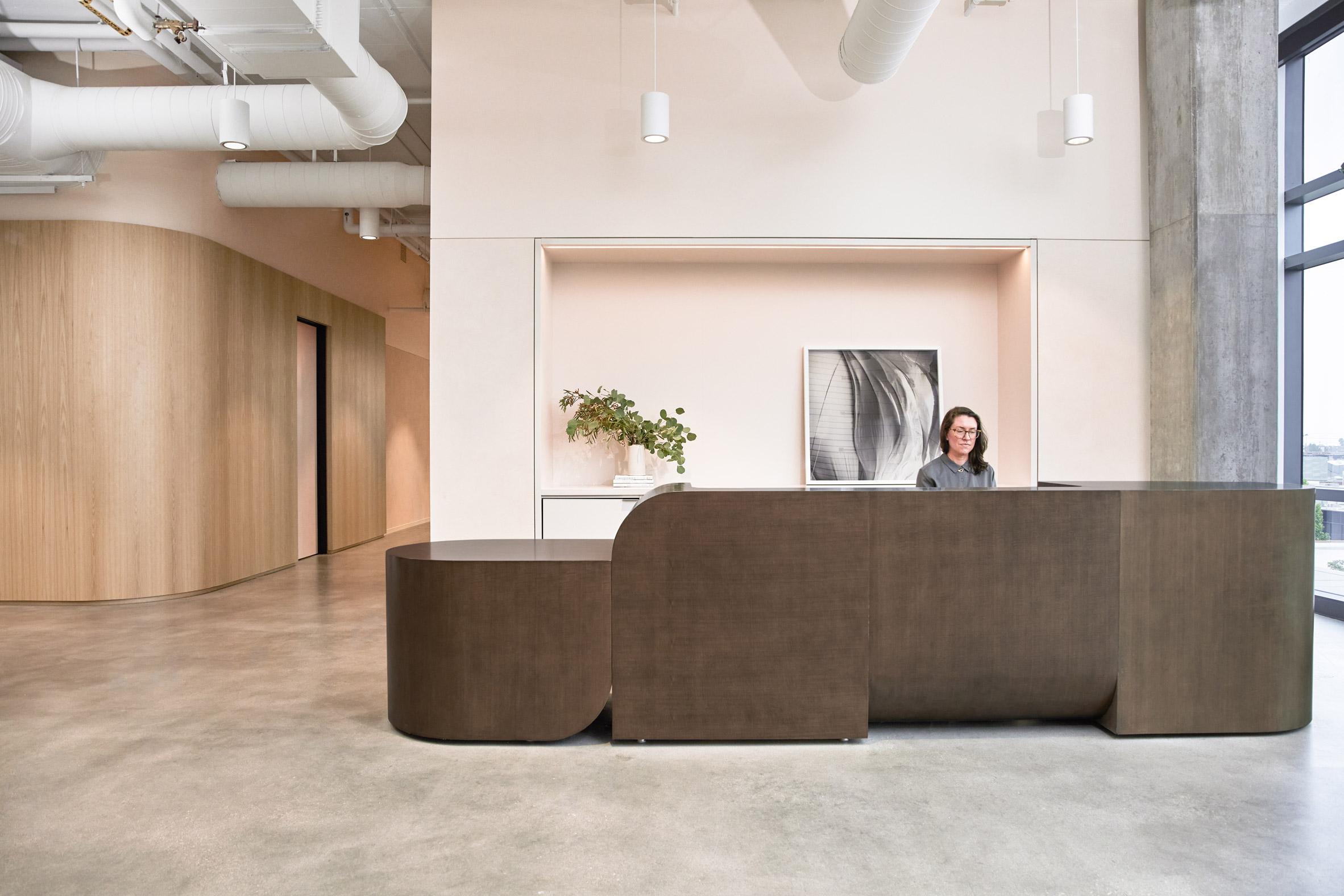 The lobby of Goop's Santa Monica headquarters designed by Rapt Studio