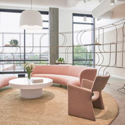 The lobby of Goop's Santa Monica headquarters designed by Rapt Studio
