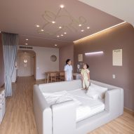 Children's hospital room with rabbit ceiling light by Integrated Field