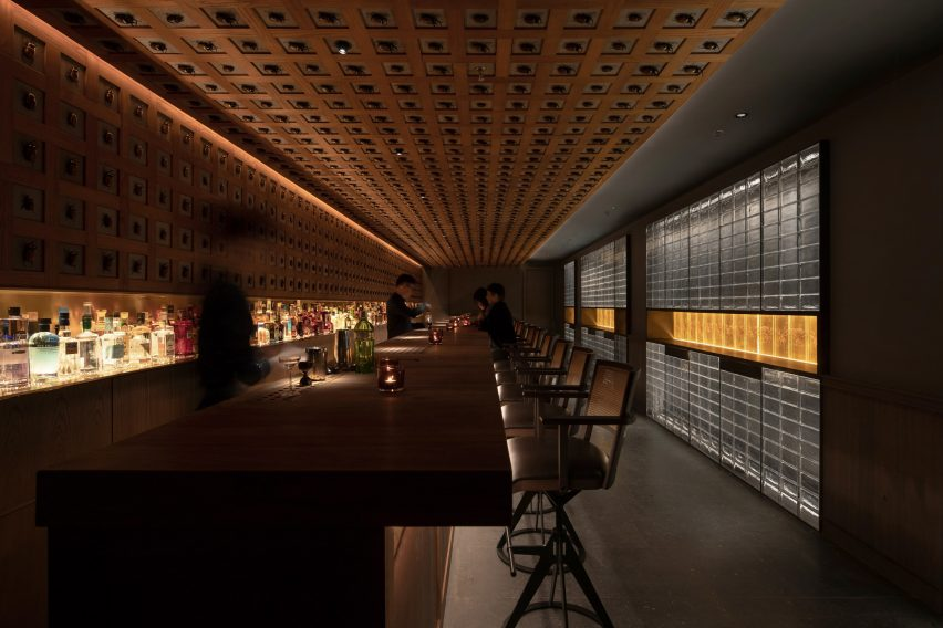 Beetles cover the walls and ceiling of J Boroski bar in Shanghai by Atelier XY