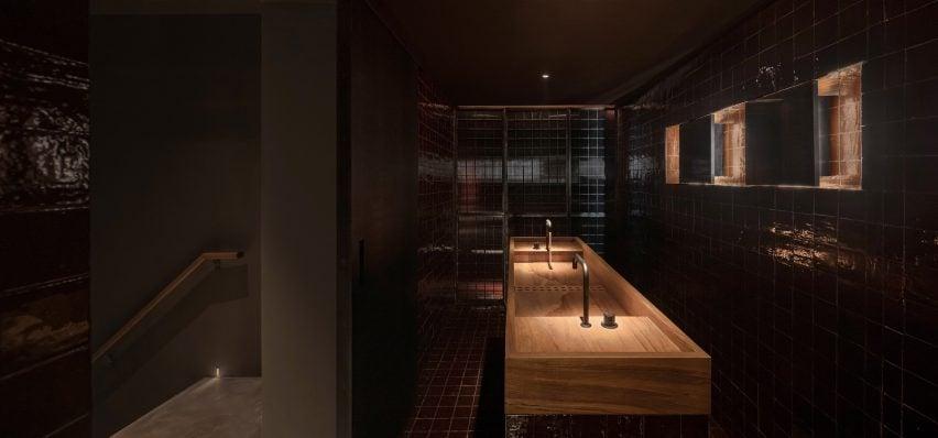 Bathroom inside J Boroski bar in Shanghai by Atelier XY