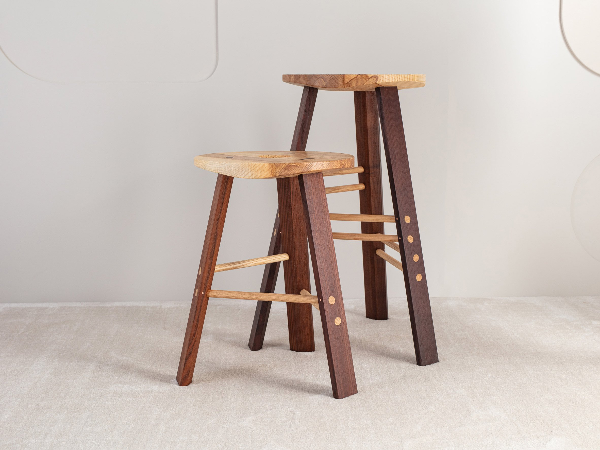 The cable shop stool from Jan Hendzel Studio's collection made using British hardwood
