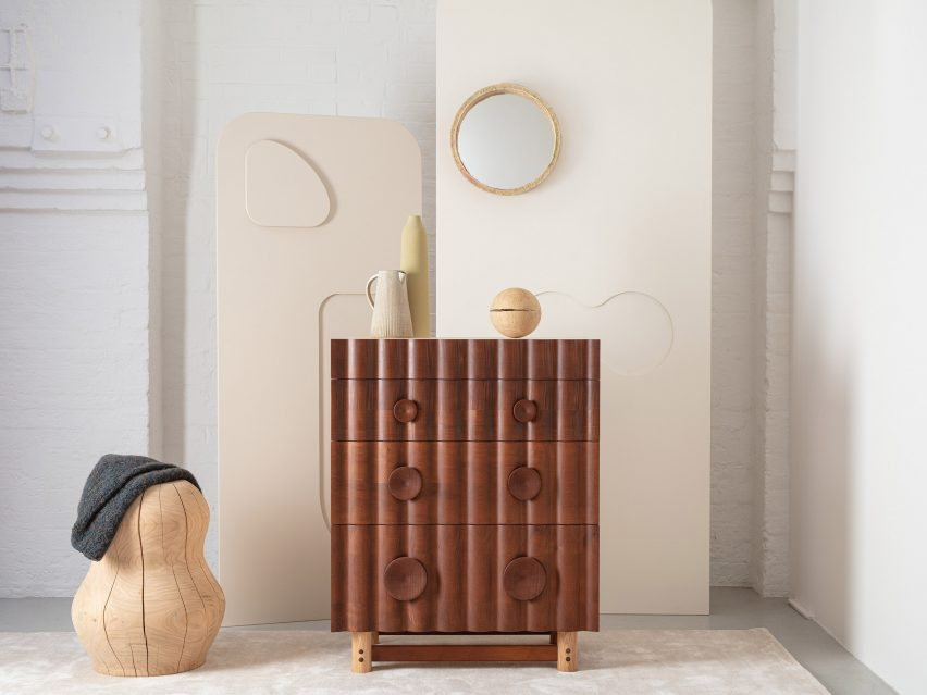 The chest of drawers from the Jan Hendzel Studio Bowater collection made using British hardwood