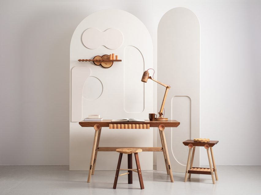 The desk, stool, sidetable and shelf from Jan Hendzel Studio's Bowater collection made using British hardwood