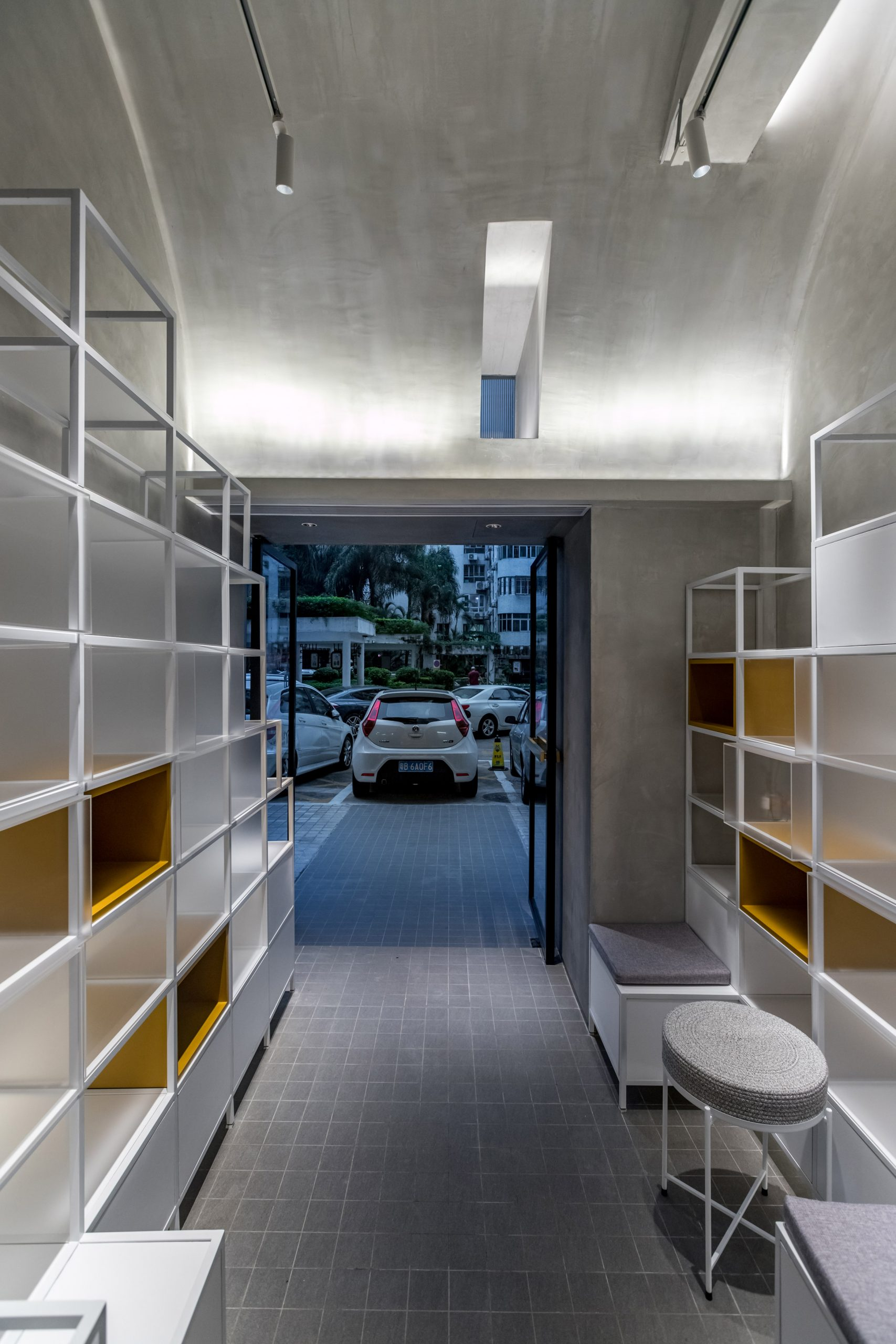Interior of microcafe joys by Onexn in narrow gap in Shenzhen