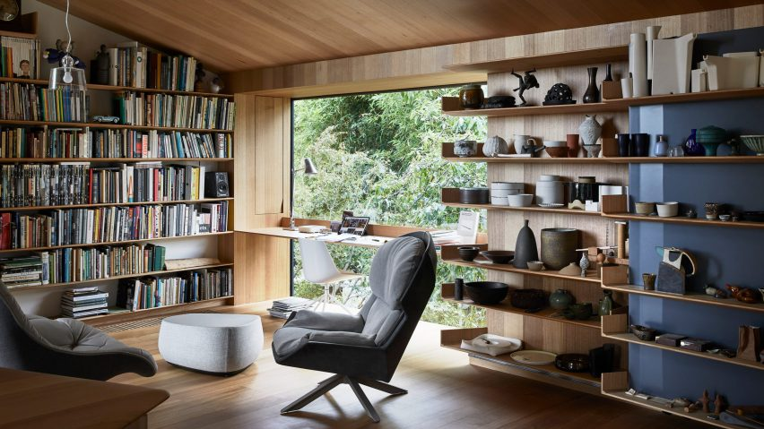 Study lined with wood in Kew Residence by John Wardle Architects in Melbourne, Australia