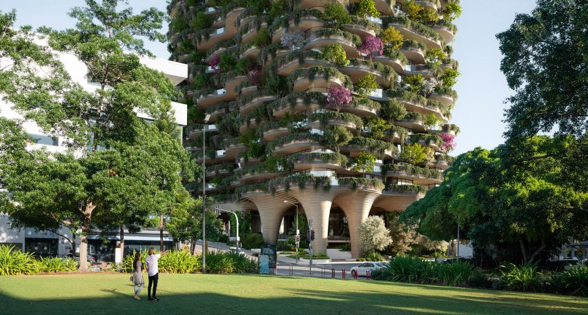 Base of Urban Forest high rise apartment building in Brisbane by Koichi Takada Architects