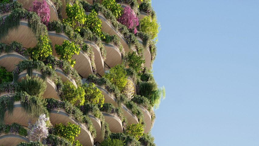 Plants cover facade of Urban Forest high rise apartment building in Brisbane by Koichi Takada Architects