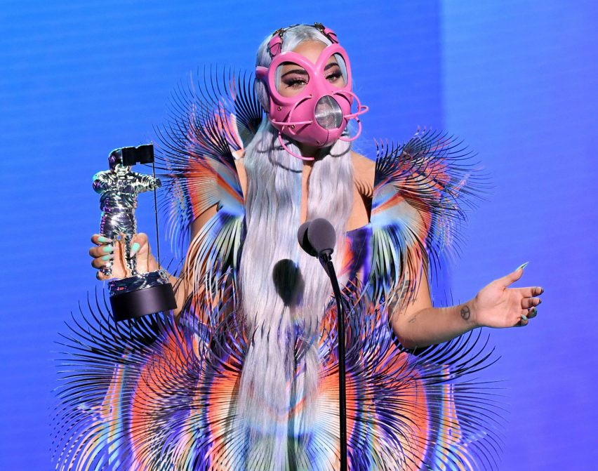 Lady Gaga in Iris van Herpen and Cecilio Castrillo face mask