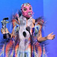 "Lady Gaga teams pink face mask with ""otherworldly"" Iris van Herpen dress at VMAs 2020"