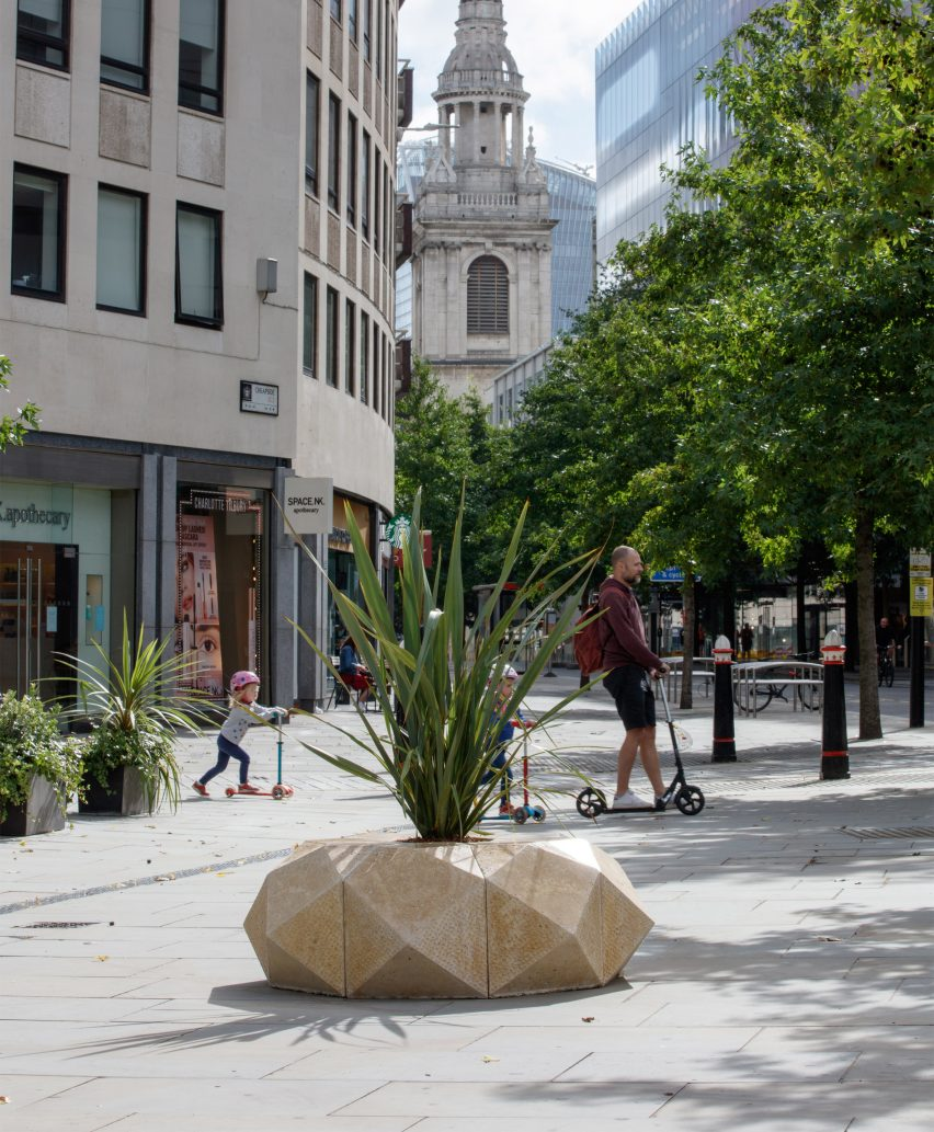 A Pineapple for London bench by Hugh Diamond, Archie Cantwell and Cameron Clarke