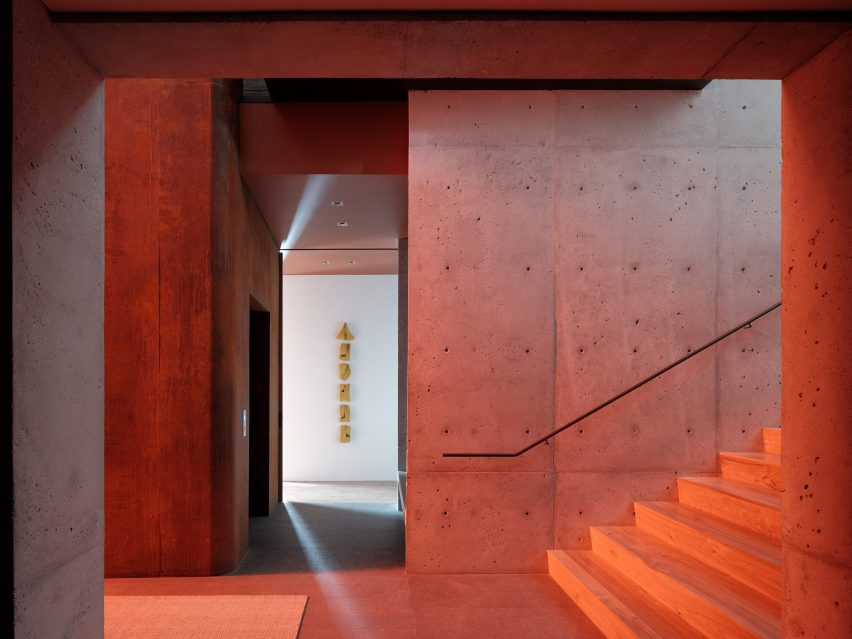 Stairway in Lookout House by Faulkner Architects