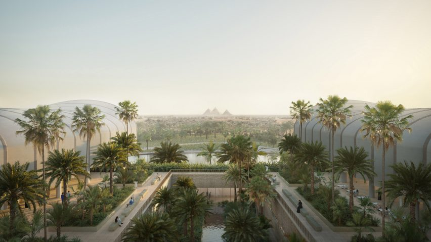 Render of Magdi Yacoub Global Heart Centre Cairo's terrace