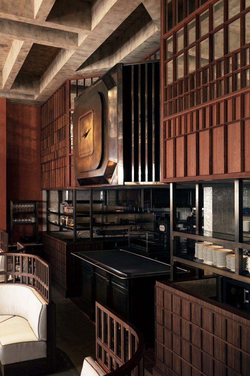 The kitchen of Maison François restaurant designed by John Whelan