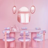Dining room of Minimal Fantasy, a pink apartment in Madrid